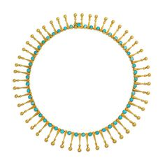 For Sale on - An antique gold collar necklace comprised of engraved fringe pendants with bead terminals and turquoise spacers, in Marret & Baugrand, France. Watch Necklace, Drop Necklace, Collar Necklace, Fringe Necklace, Beaded Necklace, Jewelry Necklaces, Jewellery, Antique Gold, Antique Jewelry