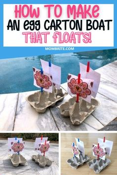 Do you have egg cartons lying around the house cluttering your living space? Easily transform them into Egg Carton Boats that float around your pool and turn them into a fun racing activity for your kids at home.     #DIYEggCartonBoat #BoredomBustersForKids #FunKidsActivitiesAtHome #FrugalKidsCraftAndArtProjects Space Activities For Kids, Science Experiments For Preschoolers, Toddler Activities, Motor Activities, Beach Crafts For Kids, Toddler Crafts, Diy Learning Toys, Toddler Beach, Boredom Busters For Kids