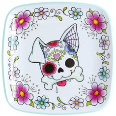 Previous pinner:Sugar Skull Puppy Plate-Sourpuss OMG I WANT THIS TO HANG ON MY WALL!!!