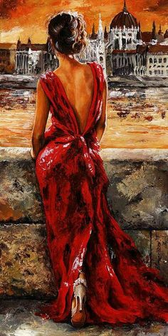 """ Lady in Red 34 - I Love Budapest"". Emerico Toth. Acrylic On Hardboard. I love this piece because it is so beautiful. The colors are so deep and stunning. Also it seems like it has a story to it. I like paintings that you can make back stories for."