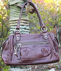 FOSSIL-Brand-Brown-Leather-Satchel-Shoulder-Bag