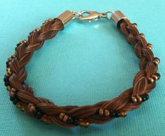 Beautiful Brown Horse Hair Bracelet Braided with Orange and White Colored Beads | eBay