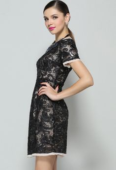 Black Short Sleeve Embroidered Sequined Dress