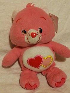 "PLUSH SALE 10"" CARE BEARS - SOFT TOYS -  PINK DOUBLE HEARTED LOVE ALOT BEAR"