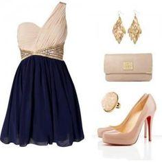 vestido corto blanco con azul