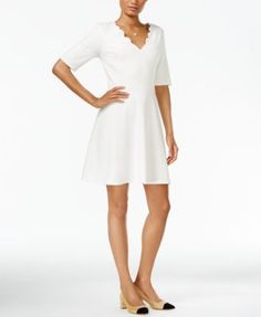Maison Jules Scalloped Fit & Flare Dress, Only at Macy's