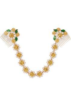 Dolce   Gabbana - Gold-tone, Swarovski crystal and enamel headband. Druzy  Jewelry ... 14deb8eab9