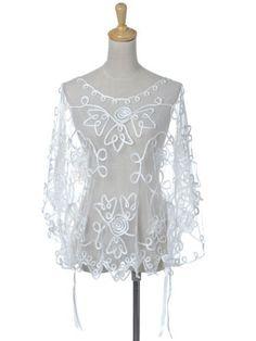 Anna-Kaci S/M Fit White Sheer See Thru Net Poncho Style Floral Swirl Pattern Top Anna-Kaci. $26.90