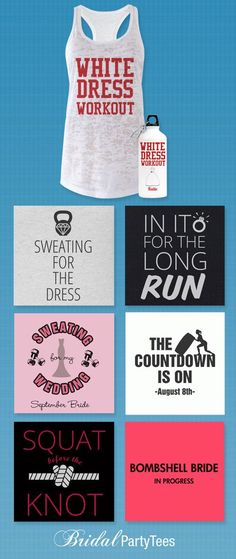 Sweating for the wedding with custom workout gear for the bride