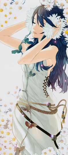 Pretty anime girl with flowers in her hair. I wonder where she's going, being all formal and dress-y like that.....