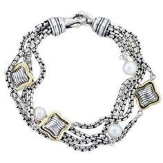 David Yurman Silver & 18K Gold Multi-Strand Pearl Star Bracelet