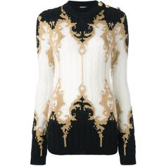 Balmain baroque epaulette shoulder jumper (€1.800) ❤ liked on Polyvore featuring tops, sweaters, black, long sleeve tops, round neck sweater, balmain, long sleeve cable knit sweater and jumpers sweaters