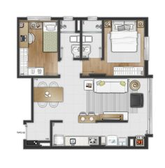 2 Bedroom House Plans, My House Plans, Small House Plans, House Floor Plans, House Floor Design, Sims House Design, Studio Apartment Layout, Apartment Design, Small Apartment Plans