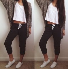 Lazy day outfit. | Sweats, white tank, cardigan, white sneakers. | Instagram