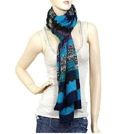 Blue and Multi Colored Acrylic Scarf