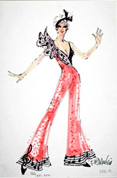 Bob Mackie costume sketch for Mitzi Gaynor from igavelauctions.com