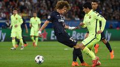 Barcelona star Luis Suarez David Luiz nutmegs only option two goals Paris Saint-Germain victory Champions League