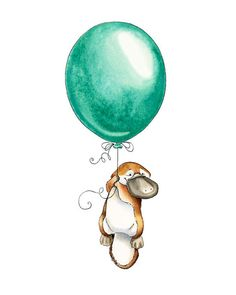 Platypus Goes Adventuring Platypus Watercolor by PosieMeadows