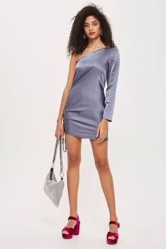 One Shoulder Ruched Side Satin Mini Dress - New In Fashion - New In - Topshop Europe