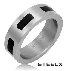 $14.99 - Steelx Stainless Steel Black Enamel Detailed Men's Ring
