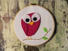 Pink Owl in Embroidery Ring by HforHeart on Etsy, $15.00