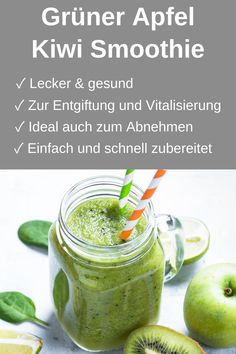 Grüner Apfel Kiwi Smoothie (Rezept) - Foodgroove Are you looking for a simple but extremely healthy Kiwi Smoothie, Smoothie Detox, Smoothie Prep, Fruit Smoothies, Healthy Smoothies, Smoothie Recipes, Healthy Snacks, Cleanse Detox, Liver Detox