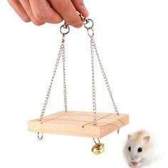 [Visit to Buy] Wooden Swing Hanging Pet Hammock Mouse Rat Bird Hamster Bell Suspension Poppled Hanging Cage Toys With Chain Pet Hammock, Hanging Hammock, Hammock Swing, Hamster Toys, Guinea Pig Toys, Cat Toys, Pet Rat Cages, Pet Cage, Funny Hamsters