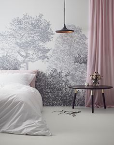 The wall paper for our bedroom. Chinese Trees Wall Mural Childrens Grey Wallpaper by Sian Zeng - Renowned For Magnetic Wallpapers, Children's Wallpaper, Wall murals & interior accessories. Ideas Dormitorios, Tree Wall Murals, Grey Wallpaper, Forest Wallpaper, Bedroom Wallpaper Ideas Uk, Woodlands Wallpaper, Tree Wallpaper Mural, Oriental Wallpaper, Nature Wallpaper