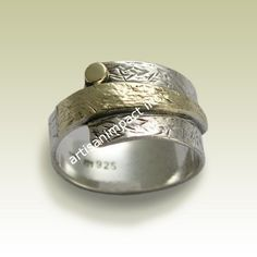 Men's silver gold band wide silver band oxidized by artisanlook