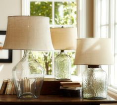 "Clift Glass Table Lamp Base - Clear | Pottery Barn Large lamp - 30+"" high... for side table in Living room???"