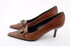 $485 NEW STUART WEITZMAN 7 N Brown leather Pointed Toe Pumps Heels SlipOn tessel #StuartWeitzman #PumpsClassics #Casual