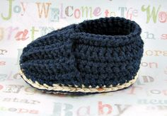 Baby Booties  Crochet Baby Loafers Navy by TresCrochetCreations, $25.00