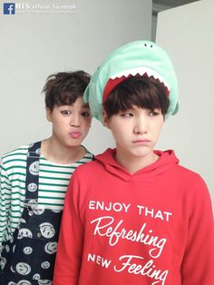 Jimin and suga. Omg Suga's shark hat and jimin in that outfit are the cutest things ever
