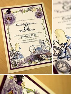 I am officially in love with these Alice in Wonderland wedding invitations.