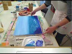 Come dipingere un bosco 1 al tramonto con colori acrilici su tela - YouTube