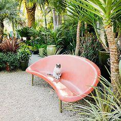 Heated outdoor bench by Galanter & Jones