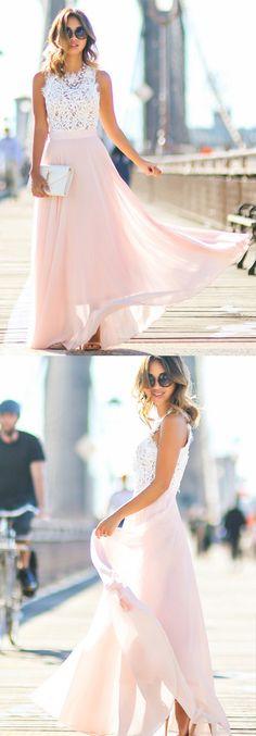 A Line Scalloped-Edge Floor Length Pink Prom Dress Pleated with Lace prom,prom dress,2017 prom dress,dress,dresses,fashion,women's fashion