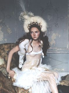Lily Cole photographed by Arthur Elgort for Vogue UK (haute couture Fall 2004).