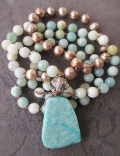 Knotted freshwater pearl stone long necklace  by slashKnots, $90.00