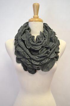 Ruffled chunky infinity scarf.