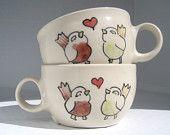 Wedding Gift - Engagement Gift - Made to Order Ceramic Teacups-  Pair of Love Birds Mugs