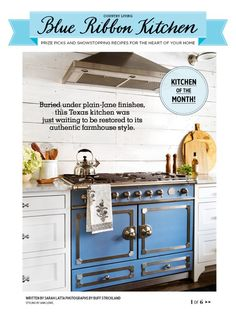Obsessed with this blue stove | flipping through country living magazine ❤️