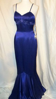 Sz 8 NWT Stone Ferris Sterling Purple Evening Gown Dress Mermaid Style Spaghetti #Mermaid
