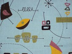 Midcentury Curtains, Vintage Sewing Patterns, Modern Contemporary, Kids Rugs, Retro, Mid Century, Blue, Home Decor, Art