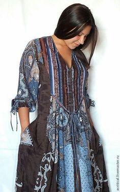 Платья ручной работы. Ярмарка Мастеров - ручная работа бохо-платье с шоколадно-серым орнаментом. Handmade.