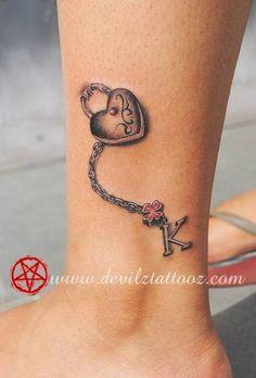 anklet tattoos for women kids names Tattoos With Kids Names, Family Tattoos, Childrens Names Tattoo Ideas, Body Art Tattoos, Tatoos, Sleeve Tattoos, Locket Tattoos, Charm Tattoo, Tattoo Key