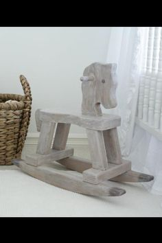 "DIY rocking horse from Restoration hardware - Glaze with MS Rootbeer float, then dark areas with ""vanilla bean""... white wash with ""wedding cake"" Painting the Roses White"