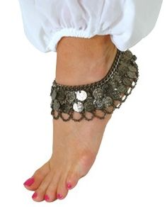 2-Row Coin Anklet with Chain Swags - HEMATITE