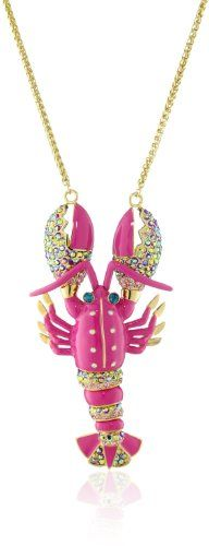 "Betsey Johnson ""Sea Excursion"" Large Lobster Pendant Necklace Long Necklace Betsey Johnson http://www.amazon.com/dp/B007FZFH8S/ref=cm_sw_r_pi_dp_bJHmvb1G7FA8M"