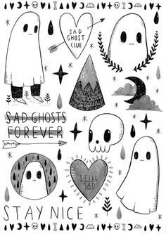Cute and spooky A5 Temporary Tattoo Sheet, Stay nice, Sad Ghosts forever, nail decals